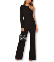 ax paris one shoulder chain detail jumpsuit