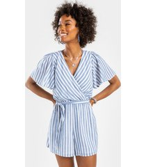 devin striped front tie romper - chambray