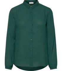 filo print shirt blus långärmad grön modström