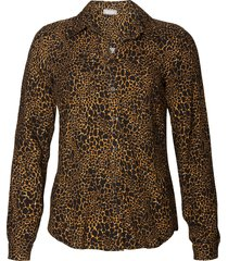 geisha 93625-20 735 blouse all over print animal camel combi zwart