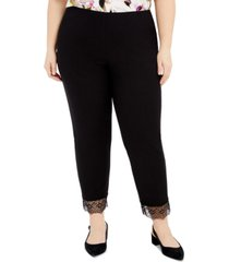 alfani plus size lace-hem pull-on pants, created for macy's