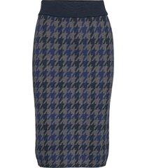 d1. checked knitted skirt knälång kjol blå gant