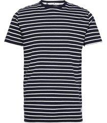 cotton t-shirt with large distance stripe t-shirts short-sleeved blå revolution