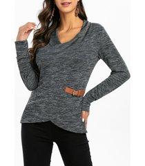 belted embellished heathered overlap knitwear
