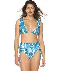 vestido de baño bikini estampado sublime dos piezas ajustable-azul