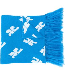 courrèges monogram print oversized scarf - blue