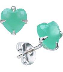 brinco joia em casa zircônia verde água leitosa coração 6mm prata