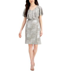 connected petite metallic cape-sleeve dress