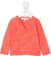 bonpoint open cherry knit cardigan - pink
