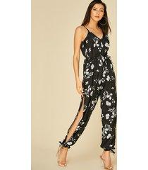 black lace-up design floral print v-neck jumpsuit