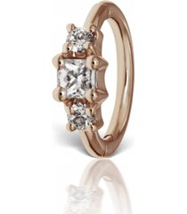 2mm diamond princess earring - rose gold