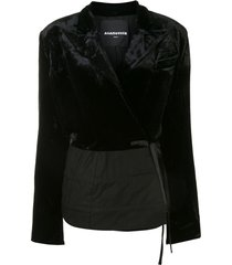aganovich velvet panel wrap-around blazer - black