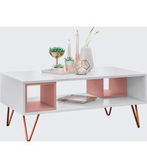 mesa centro retro metal dallas branco ac/rose ac olivar - branco - dafiti