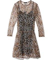 mesh long sleeve babydoll dress in leopard