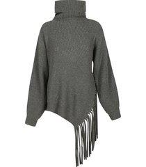 stella mccartney high-neck frayed hem sweater