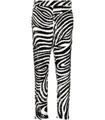 ashish zebra-print sequin-embellished trousers - black