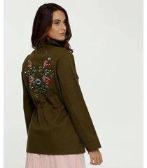 jaqueta marisa parka sarja bordado flores feminina
