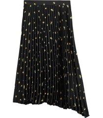 plisserad, mönstrad kjol i lång, asymmetrisk modell
