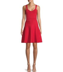ted baker london women's stitched knitted flare dress - bright red - size 4 (10)