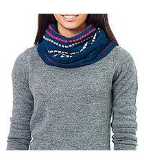 100% alpaca neck warmer, 'blue confetti' (peru)