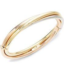 18k tri-tone gold & ruby bangle bracelet