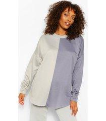 zwangerschaps colour block sweater, petrol