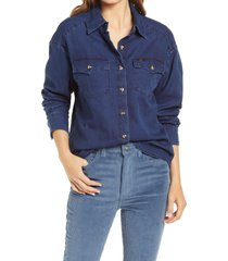 women's lee frontier western button front denim shirt, size medium - blue