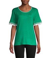 ruffle & embroidery-trim short-sleeve sweater