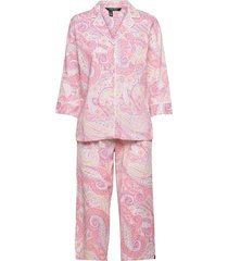 lrl notch collar capri pant pj set 3/4 pyjamas rosa lauren ralph lauren homewear