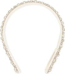 jennifer behr crystal embellished headband - white