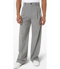 mk pantalone in lana stretch con pieghe e motivo gessato - grigio (grigio) - michael kors