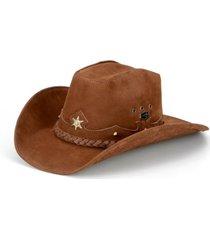 chapéu fourcountry  americano couro marrom trançado - kanui