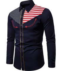 american flag star and stripes embroidery contrast trim shirt