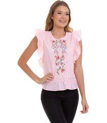 blusa kinara algodão bordado com babados feminina