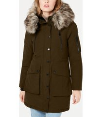 bcbgeneration faux-fur trim hooded anorak puffer coat