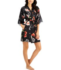 inc lace-trim floral-print satin wrap robe, created for macy's