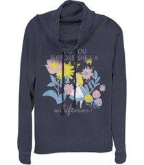 fifth sun women's alice in wonderland wildflower fleece cowl neck sweatshirt