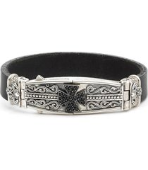 men's konstantino plato maltese cross leather bracelet
