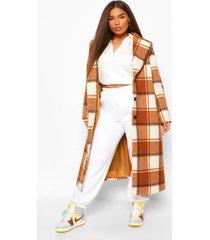 plus flannel wool look boyfriend coat, caramel