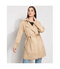 casaco trench coat de suede feminino transpassado com bolsos e cinto bege
