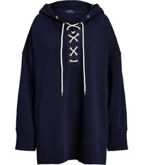 lace-up fleece hoodie