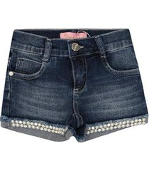 short feminino jeans barrinha bordados