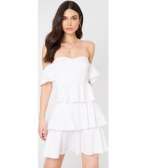 na-kd boho off shoulder mini flounce dress - white