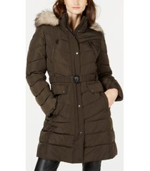 vince camuto hooded faux-fur-trim belted puffer coat, created for macy's