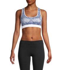 roberto cavalli sport women's snakeskin-print sports bra - denim blue - size xs