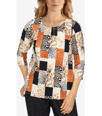 alfred dunner petite classics printed boxes top