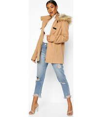 faux fur trim wool look duffle coat, camel