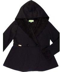 casaco leve forrado com capuz gingga baby e kids preto - tricae