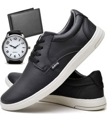 tãªnis sapatãªnis casual fashion com carteira e relã³gio new masculino dubuy 1401el preto - preto - masculino - sintã©tico - dafiti