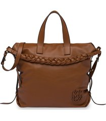 miu miu braided-handle leather tote bag - brown